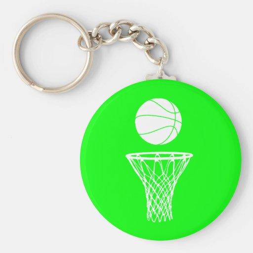 Basketball and Hoop Keychain  Green