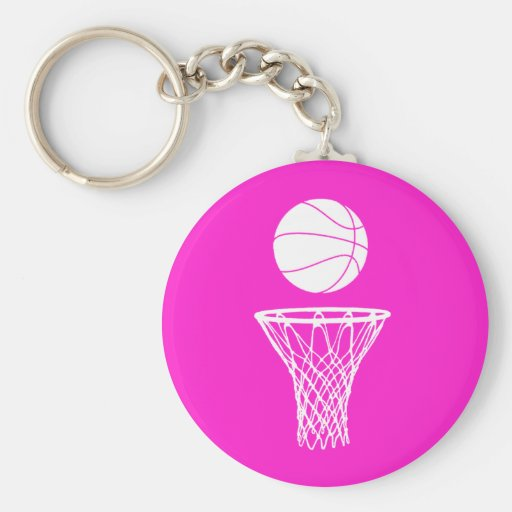 Basketball and Hoop Keychain  Pink