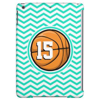 Basketball; Aqua Green Chevron Case For iPad Air