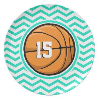 Basketball Aqua Green Chevron Party Plate