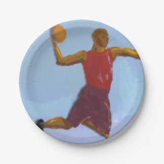 Basketball Art 7 Inch Paper Plate