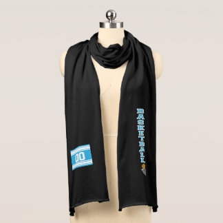Basketball Baby Blue Letter  - Personalize Scarf