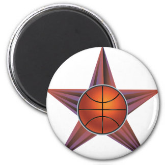 Basketball Ball on Rays Background 3 2 Inch Round Magnet