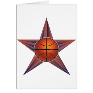 Basketball Ball on Rays Background 3 Card