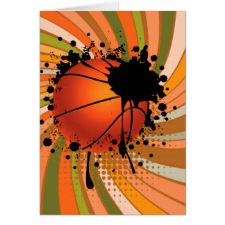 Basketball Ball on Rays Background Card