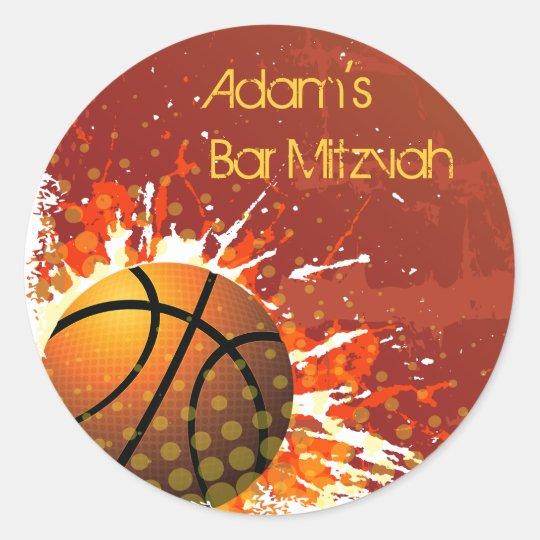 Basketball Bar Mitzvah Invitation Sticker Seal