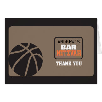 BASKETBALL Bar Mitzvah Invitation Thank You Card