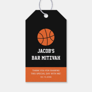 Basketball Bar Mitzvah Pack Of Gift Tags