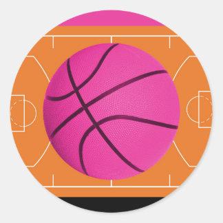 Basketball Birthday Party Black Pink & Orange Classic Round Sticker