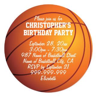 "Basketball Birthday Party 5.25"" Square Invitation Card"