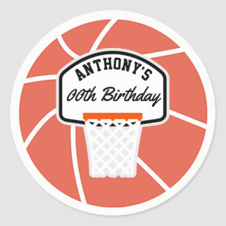 Basketball Birthday Party personalized Classic Round Sticker