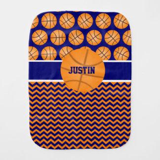 Basketball Blue Orange Personalized Burp Cloth