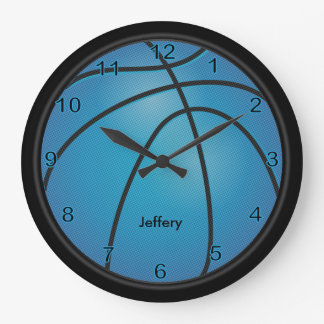 Basketball | Blue | Personalize Large Clock