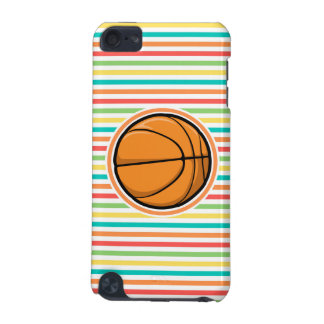 Basketball; Bright Rainbow Stripes iPod Touch (5th Generation) Cases