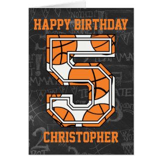 Basketball Chalkboard 5th Birthday Card