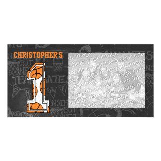 Basketball Chalkboard Photo 1st Birthday Photo Greeting Card