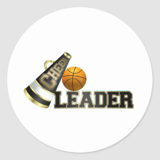 Basketball Cheerleader Classic Round Sticker