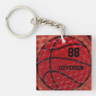 Basketball Close-up custom Name and number Single-Sided Square Acrylic Keychain