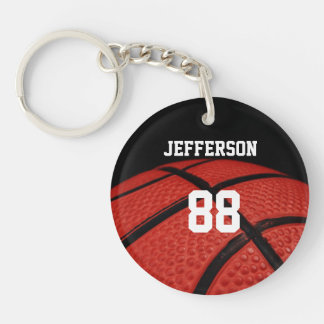 Basketball Close-up custom Name and number Double-Sided Round Acrylic Keychain