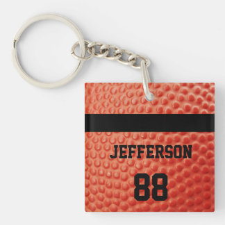 Basketball Close-up custom Name and number Acrylic Keychain