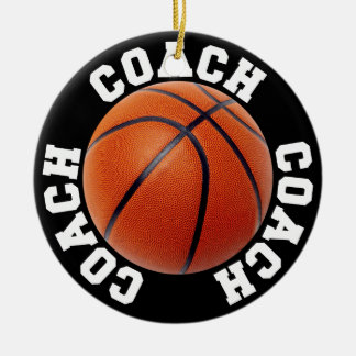 Basketball Coach Round Ceramic Ornament