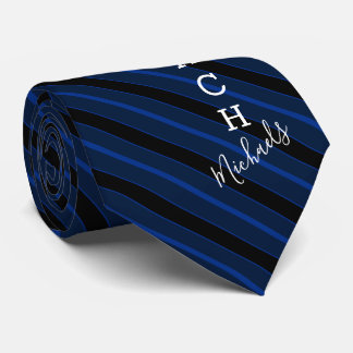 Basketball Coach Signature Name Navy Striped Tie
