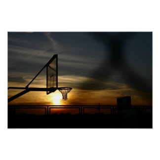 Basketball Court and Sunset Poster