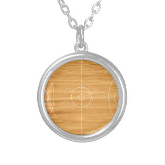 Basketball Court Silver Plated Necklace
