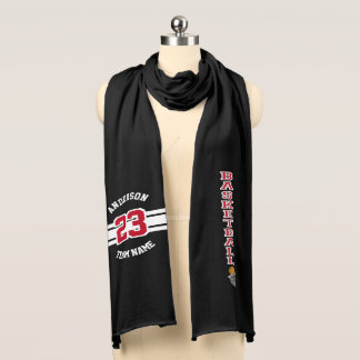 Basketball Dark Red Letter Personalize Scarf