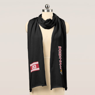 Basketball Dark Red Letter  - Personalize Scarf