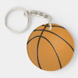 Basketball Design in Traditional Orange and Black Double-Sided Round Acrylic Keychain