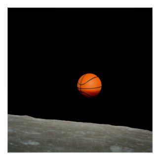 basketball earth from moon space universe perfect poster