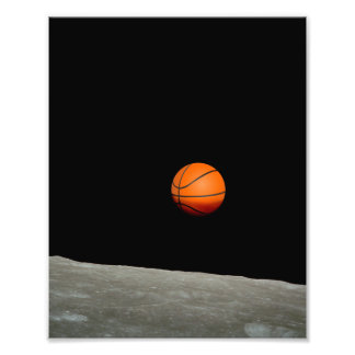basketball earth from moon space universe photo print