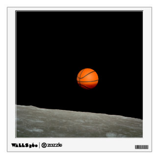 basketball earth from moon space universe wall decal