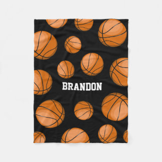 Basketball Fan Custom Name Black Fleece Blanket
