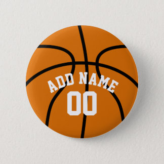 Basketball Fan with Custom Name Number 2 Inch Round Button