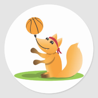 Basketball fox classic round sticker
