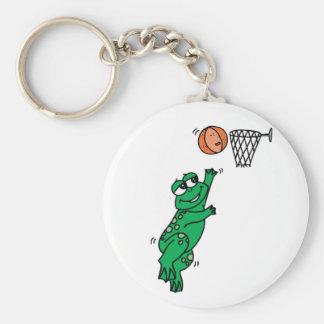 Basketball Frog Basic Round Button Keychain