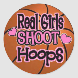 basketball girl classic round sticker