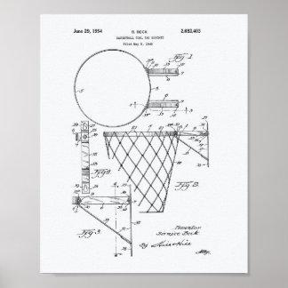 Basketball Goal 1954 Patent Art White Paper Poster