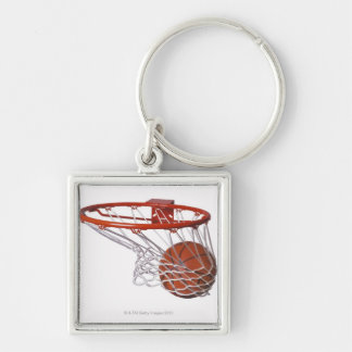 Basketball going through hoop keychain