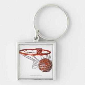 Basketball going through hoop keychains