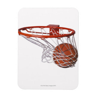 Basketball going through hoop rectangular photo magnet