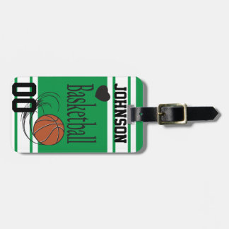 Basketball Green and White | Personalize Luggage Tag