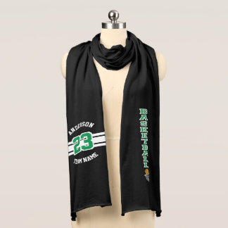 Basketball Green Letter Personalize Scarf