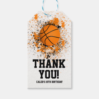 Basketball Grunge Paint Splatter Orange Black Cool Gift Tags