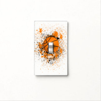 Basketball Grunge Paint Splatter Orange Black Cool Light Switch Cover