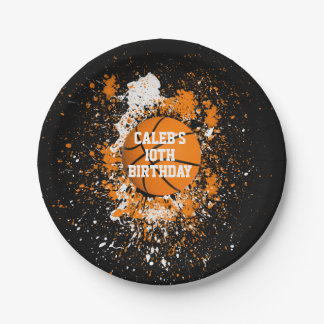 Basketball Grunge Paint Splatter Orange Black Paper Plate