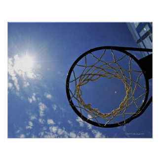 Basketball Hoop and the Sun, against blue sky Poster