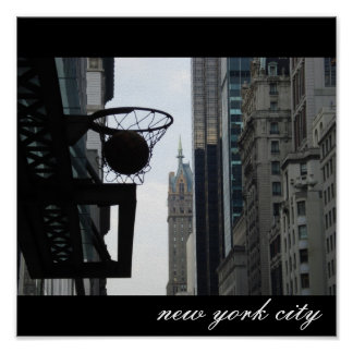 Basketball hoop in New York City. Poster